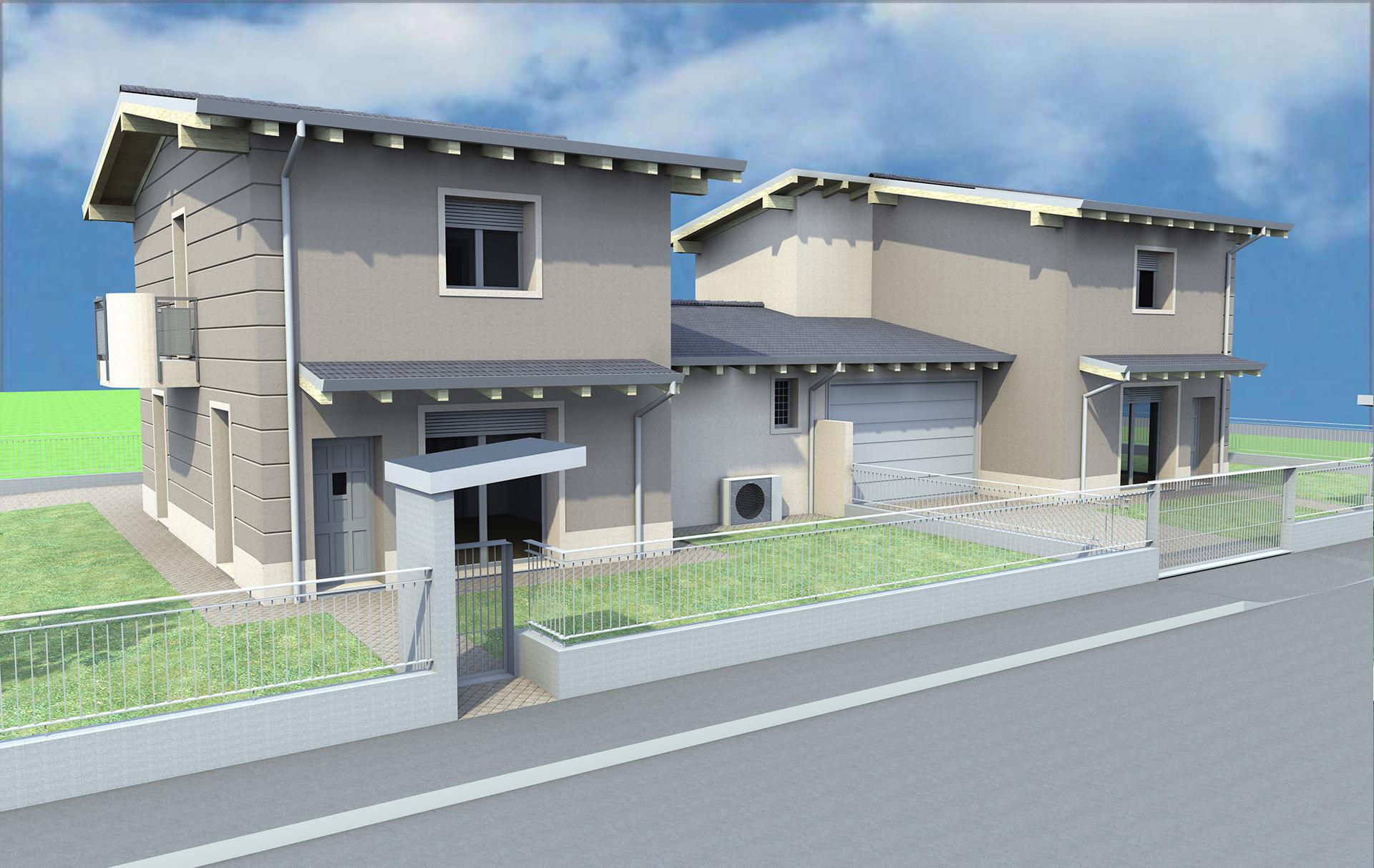 Progetto ville bifamiliari caravaggio vendute edilmira for Case a un piano progetti